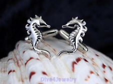 Solid Sterling Silver Seahorse Cufflinks Diver Beach Wedding Jewelry AUS STOCK