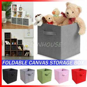 Canvas Storage Box Foldable Cube Folding Box Fabric Kids Toys Cloth Basket UK