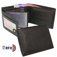 Herren Leder Geldbörse Geldbeutel Brieftasche Männer Echtleder RFID Schwarz