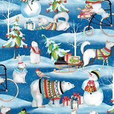 Fabric Christmas Snowy Friends Polar Bear on Blue Cotton by the 1/4 yard