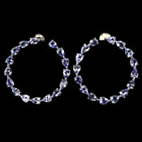 Unheated Pear Tanzanite 4x3mm 14K White Gold Plate 925 Sterling Silver Earrings