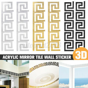10-40PC 3D Acrylic Mirror Tile Wall Sticker Removable Decal Art Mural Wall Decor