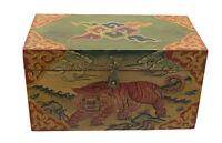 Caja Tibetano Tigre Joya Pintado Manualidades Tibet Nepal 30x17cm 750