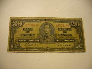 1937 ~ BANK OF CANADA ~ 20 DOLLARS ~ GORDON/TOWERS  B/E 7775138