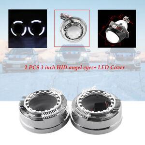 "3"" 12V HID Car LED Light Angel Eye Projector Lens Headlight Cover SUV  Lampshade"