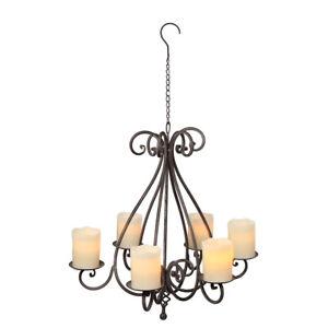 Kronleuchter shabby Vintage Kerzen Ständer Leuchter halter 6 Kerzen Eisen grau37