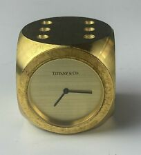 Tiffany & Co Dore Bronze Mid Century Modern MCM Dice Desk Clock Paperweight TLW