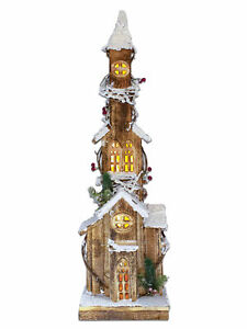 The Christmas Workshop Snow Tipped wooden house 75cm warm white led