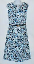 Jones New York Woman Plus Size Sleeveless Belted Floral Dress Skylight Combo 20W