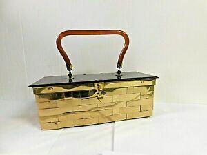 Vintage Dorset Rex Gold Metal Woven Box Purse  Lucite Handle & Lid USA