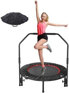 """40"""" Mini Foldable Trampoline With Bar Home Gym Urban Rebounder Bouncing Exercise"""