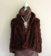 Thorpe & Crump Vintage 1930s Short Brown Real Fur Evening Cape Bolero Size 8-10