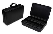 10 Watch Case Briefcase Black Zippered Travel Leather Carbon Fiber Storage