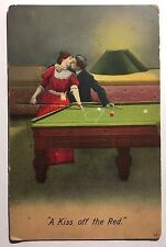 Billiards POOL TABLE & Cue Sticks c1910 Postcard Affectionate Couple Kissing