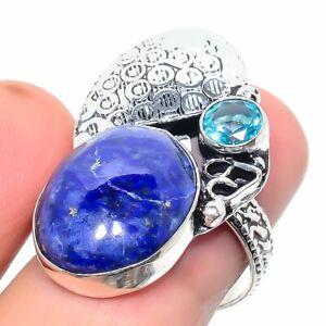 Lapis Lazuli, Blue Topaz Gemstone 925 Sterling Silver Jewelry Ring Size 8 f156