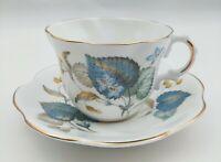 Vintage Lefton Bone China Teacup & Saucer Made in England Blue Flowers & Leaves