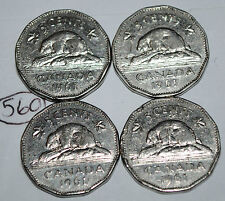 Canada 1961 x 4  5 Cents Canadian Nickel Lot #560