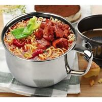 Stainless Steel Noodle Bowl Food Container Bowl Rice Soup Handle Bowls w/ Cover