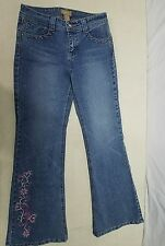 Candies Girls Jeans w/ Flower Embroidery Size 14 EUC *D Casual Bootcut