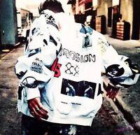 Fashion Men's Baseball Jacket Long Sleeve Graffiti Printed Coat Outwear Casual