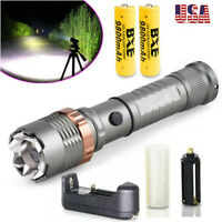 100000LM Tactical T6 LED Zoomable Flashlight Lamp 9900mAh 18650 Battery