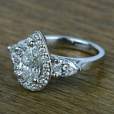 3 Stone Ring 14k White Gold 3.00ct White Pear Cut Diamond Engagement Wedding