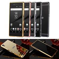 Mirror Back Cover Metal Frame Case for Sony Xperia Z5/Z5 Mini/Z5 Premium/M4 Aqua