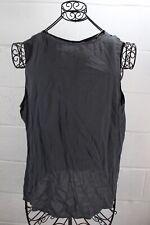 GIORGIO ARMANI Charcoal Gray 100% Silk Back Button Down Sleeveless Blouse Top 50