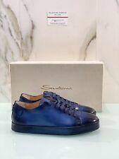 Santoni Sneaker Uomo Luxury Handpainted Edition In Pelle Blu 40