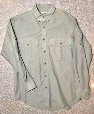 Vintage Medium Travel Smith Blue Gray Outdoor Long Sleeve Button Up