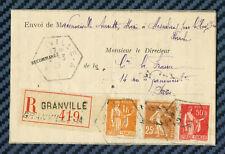 Recette auxiliaire urbaine - Lettre recommandée de GRANVILLE pour PARIS - 1935