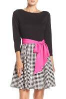 Eliza J Pink Black Size 10 NWT Three-Quarter Sleeve Tie-Waist Dress Windowpane