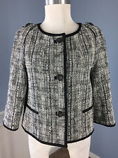 Talbots S 4 Black White Tweed Blazer Jacket Cropped swing Career Cocktail EUC *