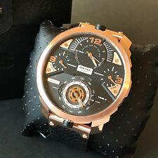 Diesel Men's Watch Black Leather Rose Gold 4 Time Zone MACHINUS DZ7380 NWT Box