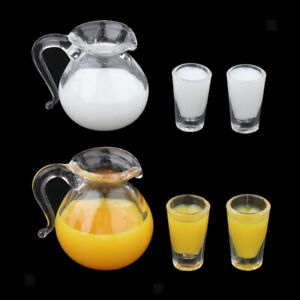 6x 1/12 Dollhouse Miniature Drink Juice and Milk Pot Cups Kitchen Supplies
