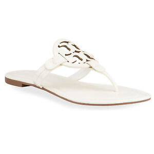 Tory Burch Women's Miller Sandals Thongs Shoes Ivory White Patent Leather