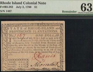 UNC 1780 $1 DOLLAR BILL COLONIAL CURRENCY NOTE OLD PAPER MONEY RI-282 PMG 63