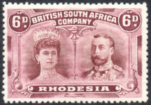 Rhodesia 1910-13 6d red-brown & mauve, Double Head P.14, SG.144, mint cat.£55