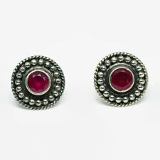 Victorian Dot Ball Halo Red Ruby Stud Earrings In 925 Sterling Silver For Women