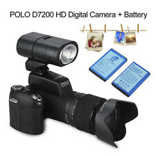 "POLO D7200 3.0"" 33MP 1080P DSLR Digital 3 Lens Kit Telephotos Camera +2 Battery"