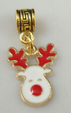 18K gilded European Christmas Charm Bead Fit sterling 925 Necklace Bracelet U3f