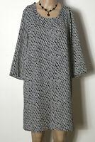 MANGO Kleid Gr. M/38 schwarz-weiß kurz/mini 3/4-Arm A-Linie Punkte Chiffon Kleid