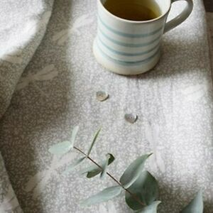 Peony and Sage Chasing Dragonflies French Shutter Gray on Ivory Tumbled Linen 10