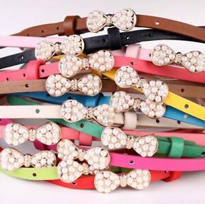 Ladies Women PATENT LEATHER LOOK PEARL Skinny waist belt  UK Fast Shipping S/M