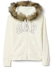 NWT New Gap Kids Girl Logo Zip Fur-Trim Hoodie Ivory Frost XXL 14-16
