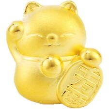 New Pure 999 24K  Yellow Gold Bead 3D Lucky 千万两 Plutus Cat Pendant / 1.3-1.4g