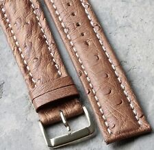 Fully stitched Genuine Ostrich 22mm vintage watch strap Made in Italy 1960s/70s