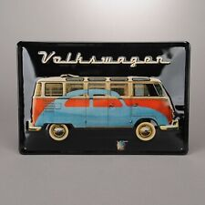 Air Cooled VW Metal Sign, Bus with Beetle Silhouette & VOLKSWAGEN Script 331345