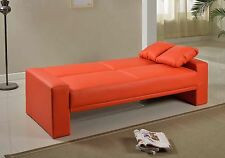 BRAND NEW 2 SEATER LUXURY SUPRA FAUX LEATHER SOFA BED - in Black, Cream, Red