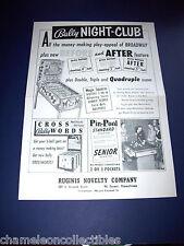NIGHT CLUB By BALLY 1956 ORIGINAL EM BINGO PINBALL MACHINE SALES FLYER BROCHURE